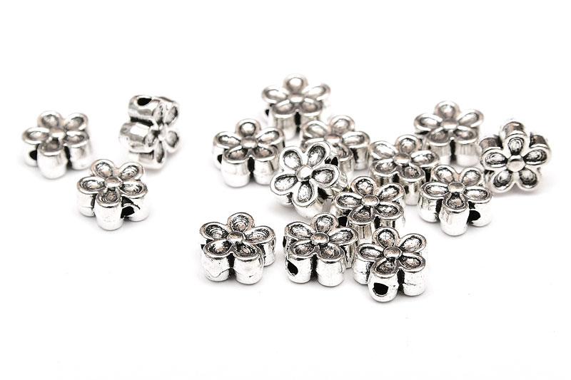 Antiksilver metallpärlor Blommor