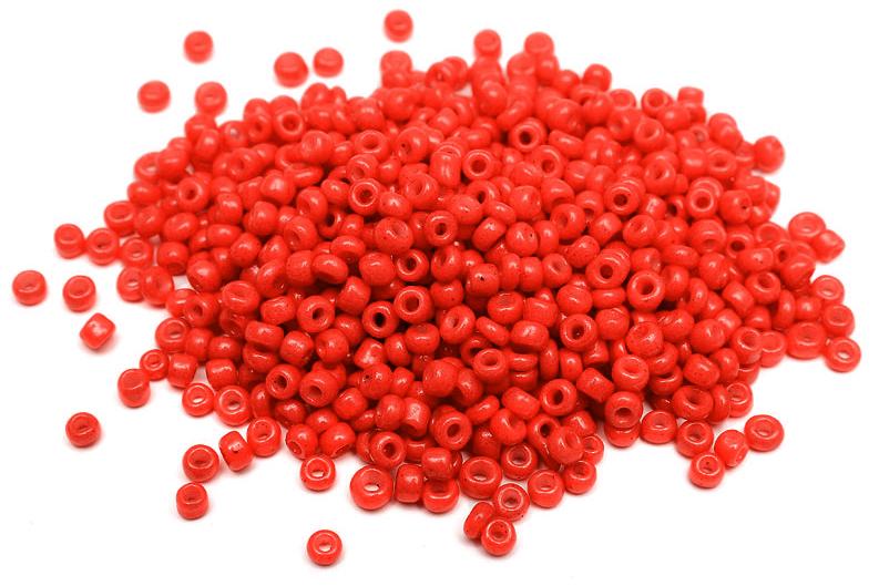 Seed beads 8/0, 3mm, Opak Röd silky